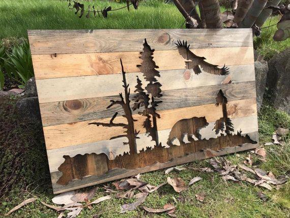 Rustic Bear and Eagle Silhouette Wood Wall Art by Bayocean Rustic Design