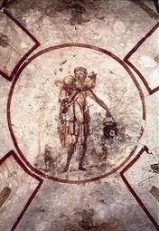 HYRDE Kristus som den gode hyrde; maleri fra San Callisto-katakomben, Rom.