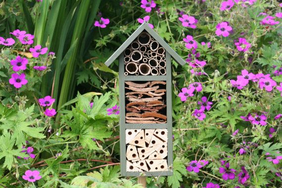 Bee and Insect Hotel, three tier, in 'Old English Green'.
