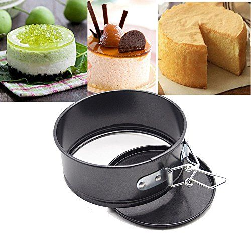 Spring latch and removable bottom make cake baking tins much easier. Quick release metal buckles. Durable steel construction with nonstick coating, easy to store and clean. Small best springform pan. Ideal for removing cheesecakes. Perfect for delicate cheesecakes. Non Stick finish Baking Tins Removable bottoms in spring form design ensure you can serve in style Easy spring
