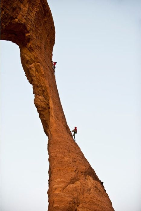 Climbing rock formations in the remote Ennedi plateau in Central Chad    Photo by Jimmy Chin/Barcroft Media