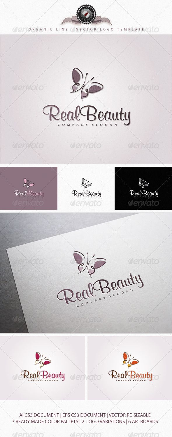 Logotype butterfly and letter b in different colour variants on a - Organic Butterfly Logo Template