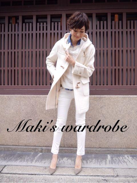 田丸麻紀 white♡duffel coat & pants & knit