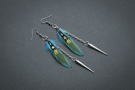 Silver spikes  earrings: Turquoise feathers boho jewelry  Bohemian earrings  Feather earrings Turquoise Spikes earrings Dangle earrings