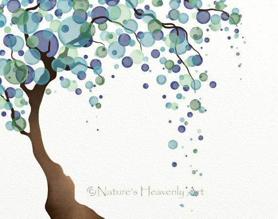 Watercolor Tree Wall Print 11 x 14 Nature Art, Blue Green Tree, Polka Dots, Willow Tree Art, Home Decor (7) on Etsy, $21.00