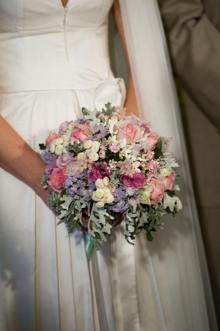 Bride bouquet with mixed pastel flowers