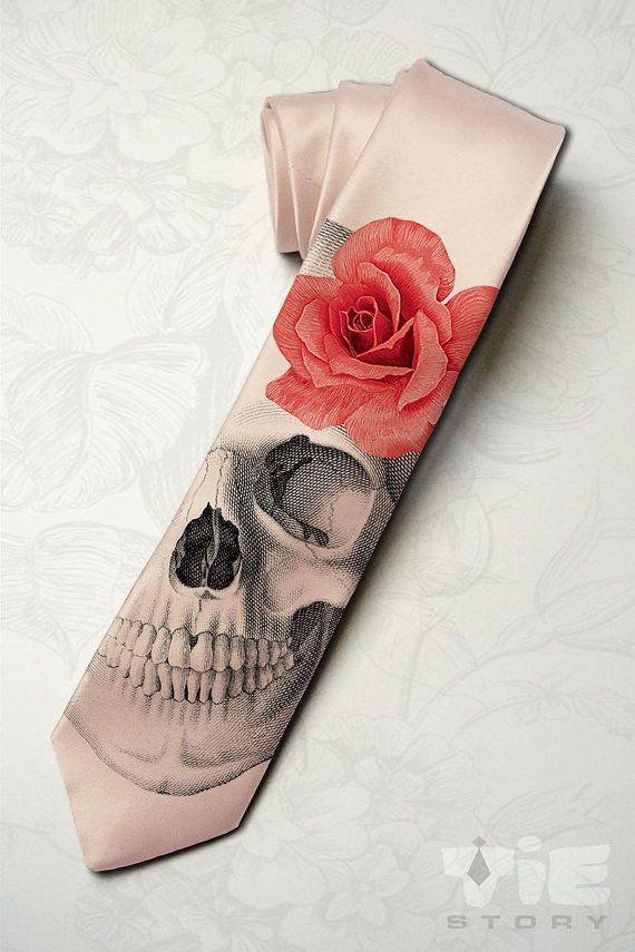 Mannen gotische bruiloft stropdas. Dia de los muertos stropdas met rode roos. Horror skelet hipster stropdas. Halloween party roze stropdas. Spooky