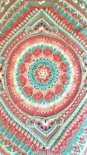Sophie's Universe Yarn used: Bernat Softee Baby in: Antique White, Little Mouse, Soft Peach, Soft Red and Red Heart Soft in Seafoam