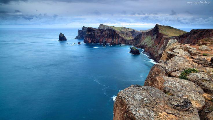 Morze, Klif, Portugalia, Wyspa, Madera