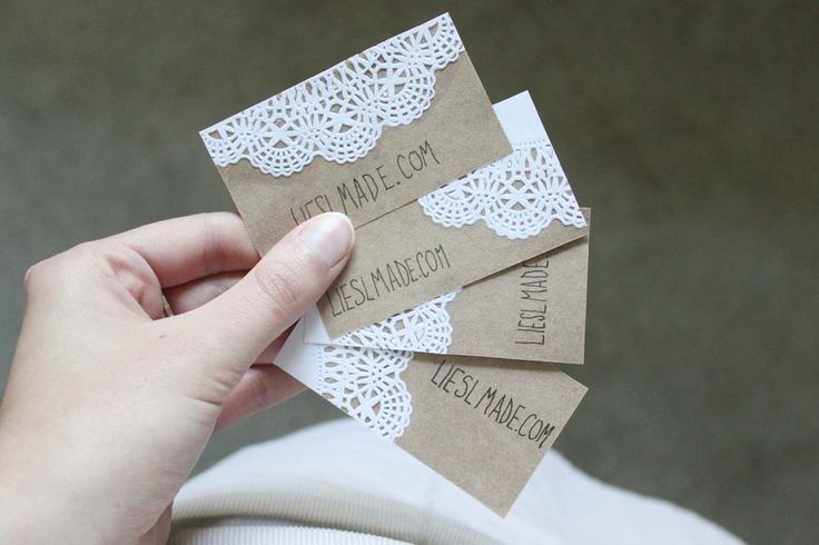 Liesl Made Kraft Paper and Lace Doily Business Card DIY -- Would love to see if a doily stencil technique would work as well :)