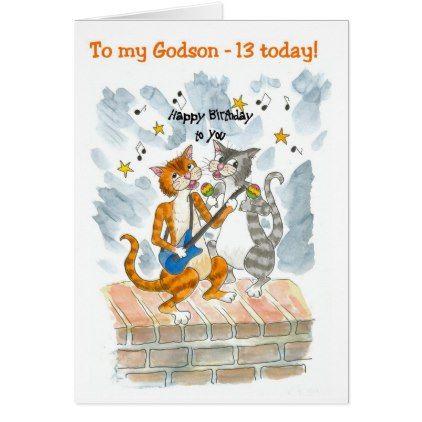 Singing Cats 13th Fun Birthday Card for a Godson - birthday gifts party celebration custom gift ideas diy