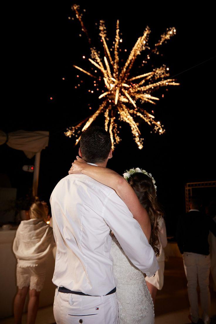 Fireworks, Sparkle, Lights, Skyline, Bride And Grown, All White, Flower Crown, Dancing, Memories, Santorini Weddings