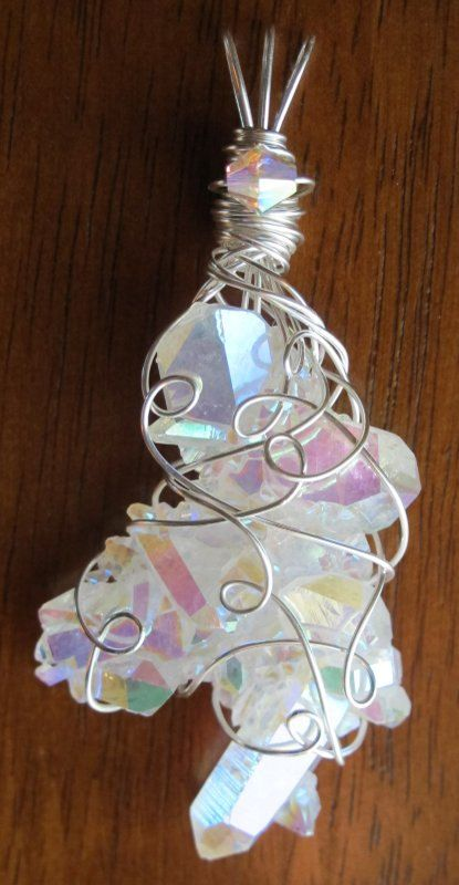 RESERVED  Rainbow Angel Aura Quartz Cluster by CammiesCrystals, $85.00