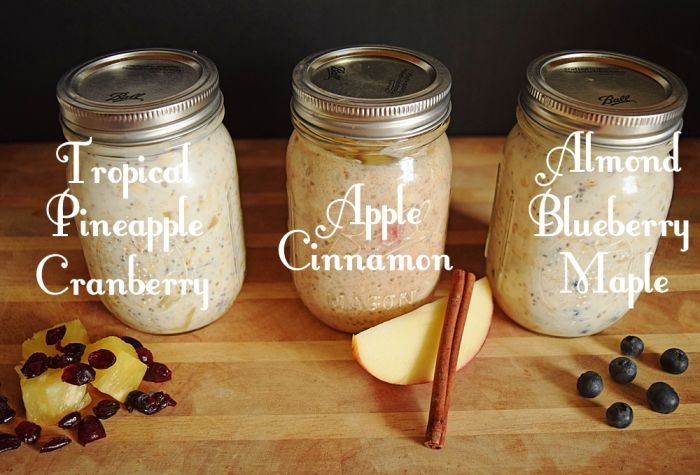 Overnight No Cook Oatmeal Apple Cinnamon, Almond Blueberry Maple, Pineapple Cranberry recipes