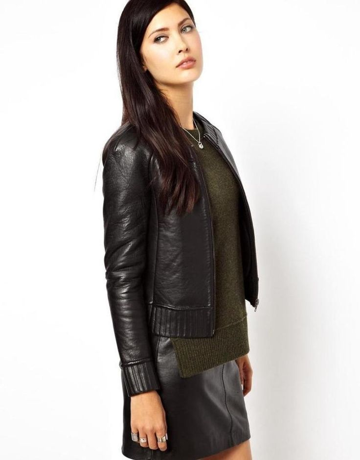 New Women Leather Motorcycle Jacket Biker Genuine Lambskin Zipper Slim MA#148 #Handmade #Motorcycle #Casual
