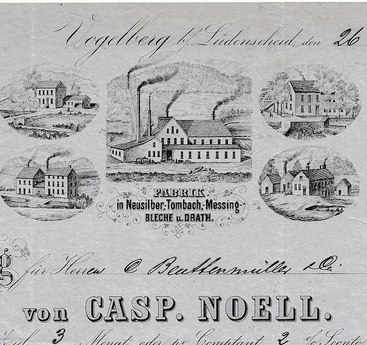 Casp. Noell Vogelberg Lüdenscheid Rechnung 18.. Sauerland Westf. Kupfer + M. WKM