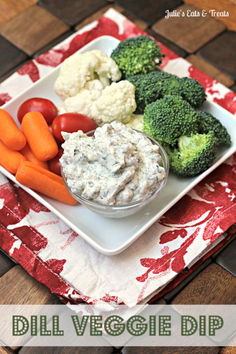 Dill Veggie Dip ~ This dip is so amazing you'll want to eat it by the spoonful! via www.julieseatsandtreats.com