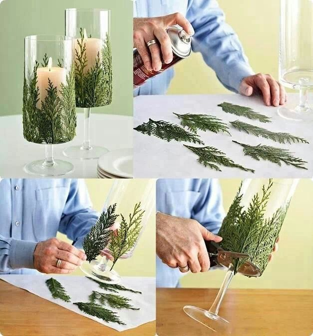 Spray glue it to candle holder