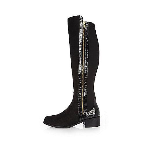 Black croc panel knee high boots - boots - shoes / boots - women