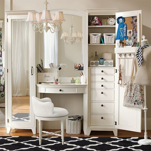 Every Girl's Sanctuary. I would really like a vanity to bedroom. Never had it. :( But would love it like this, that you can close it.