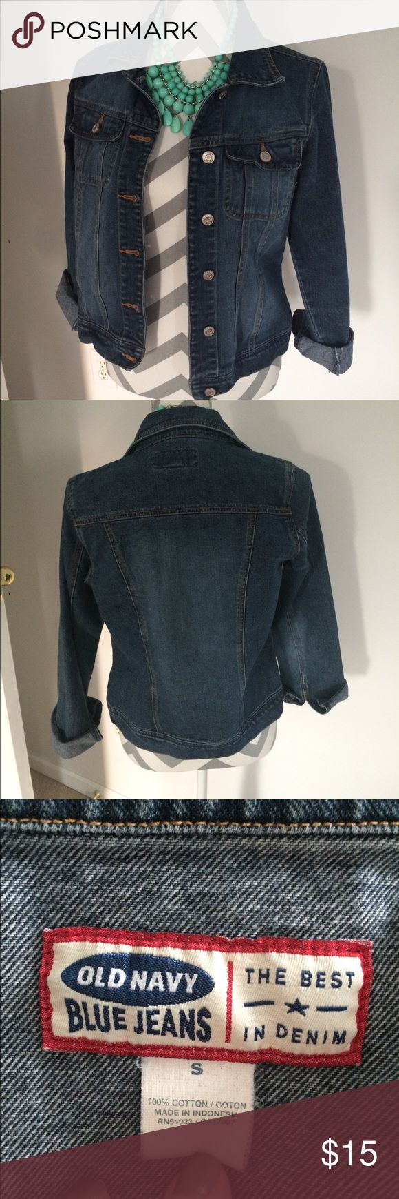 Old Navy Jean Jacket Reserved- EUC! Only worn a few times. Don't let the size fool you, I am usually a medium/large and this fits me. Perfect to throw on and go! No flaws. Offers welcome! Old Navy Jackets & Coats Jean Jackets