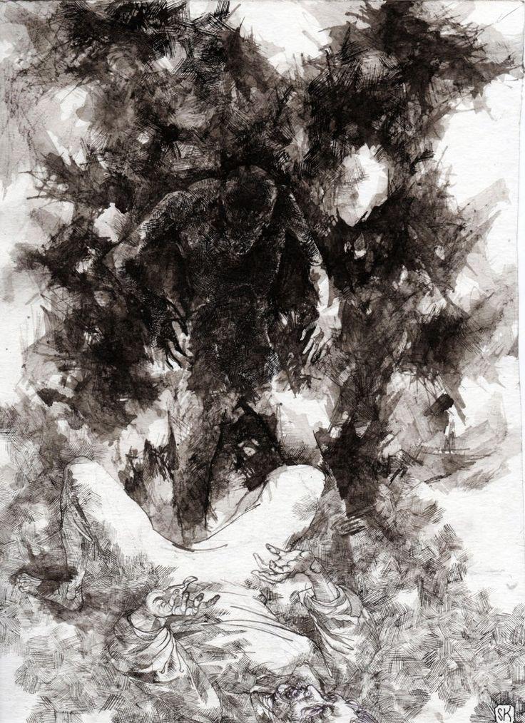 Bastian Kupfer's The Horla, by Guy de Maupassant. #bastiankupfer #maupassant #horla #terror #fantasy #invisible #ghost #spectre #monster #unconscious #literature #illustratio #art #fabulantes
