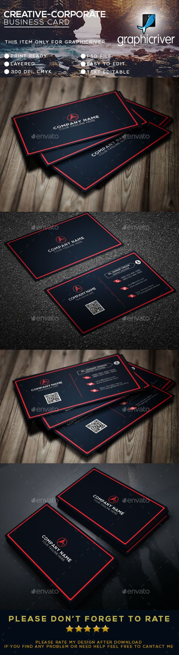 Corporate Business Card - Business Cards Print Templates Download here: graphicr...