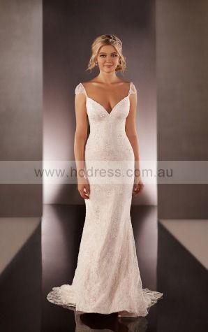 Sheath V-neck Empire Cap Sleeves Floor-length Wedding Dresses wes0147