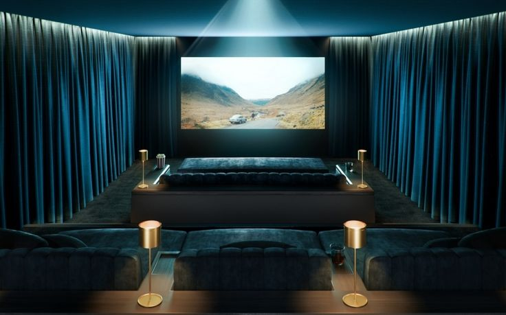 Cinema room at CIT South Bank Tower, designed by 1508 London #interiordesign #homecinema #SouthBankTower