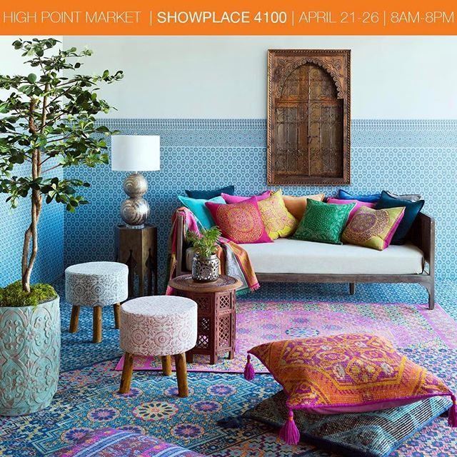 "Visit #Surya at Showplace 4100 during @highpointmarket to see our newest products and Spring 2017 trends like the vibrant, globally-inspired ""Masala."" For more details, visit www.surya.com/market-events. #hpmkt #highpointmarket"