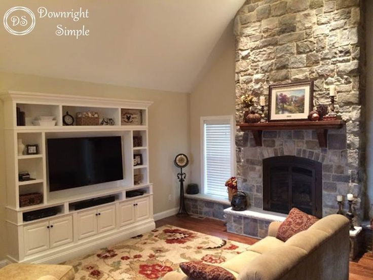 Love The Stone Fireplace With Windows On Either Side And