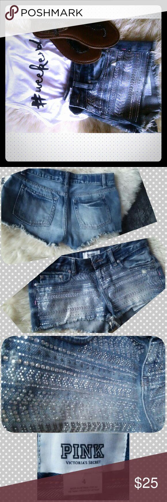 PINK embellished shorts Super cute! Embellished shorts PINK Shorts Jean Shorts