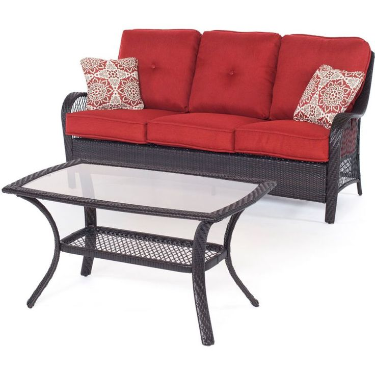 Hanover ORLEANS2PC Orleans 2-Piece Steel Framed Resin Wicker Outdoor Sofa Set wi Brown / Berry Furniture Outdoor Furniture Outdoor Sofas