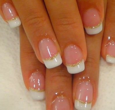 Natural Nails with Gold Glitter French Tips | Glitter ...