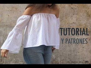DIY Patrones y tutorial: Camiseta blanca sin hombros para mujer - YouTube