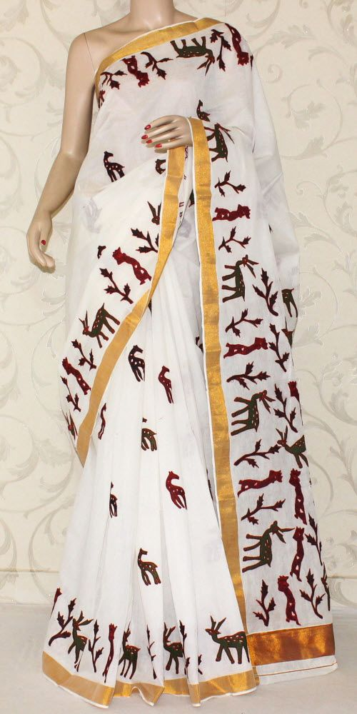 Kerala Cotton Saree  This is a pure Handloom Kerala Cotton Saree with attached blouse piece. These Sarees mostly come in Off White colour with a golden striped border. It is latest, designer, high quality cotton saree with golden zari border.