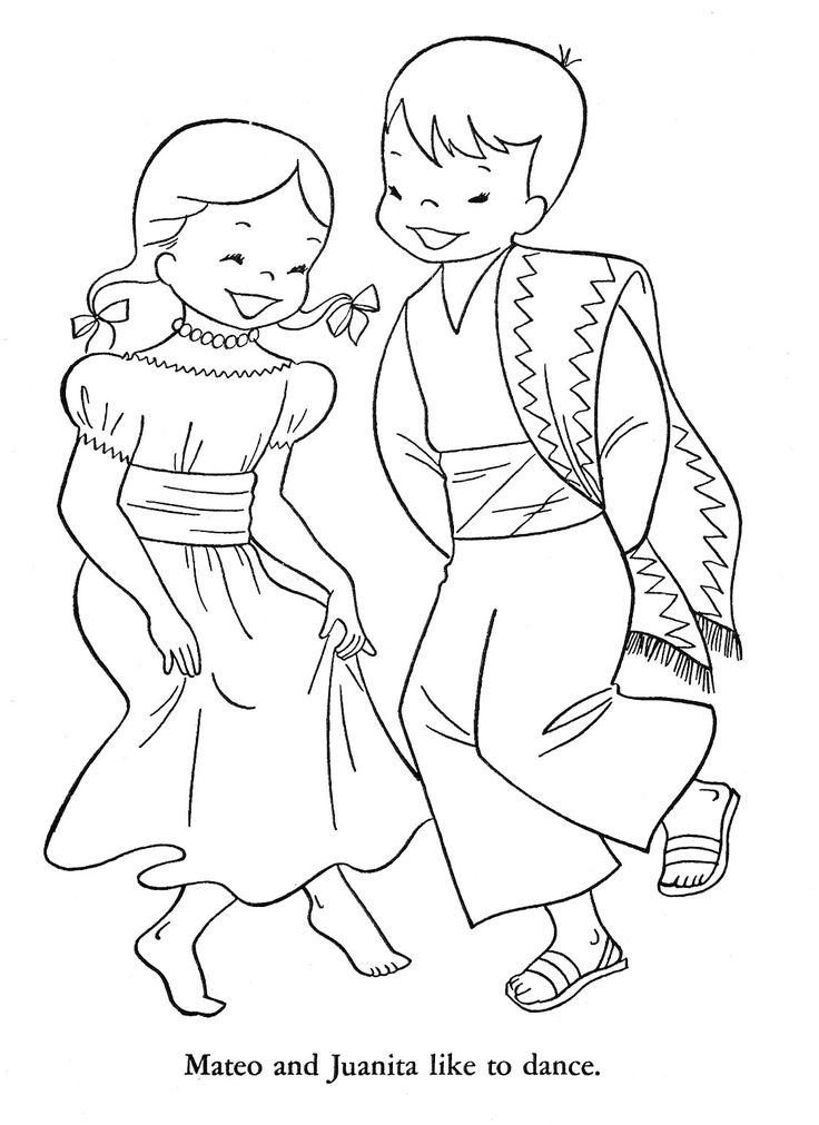 Mexican Children Coloring Page