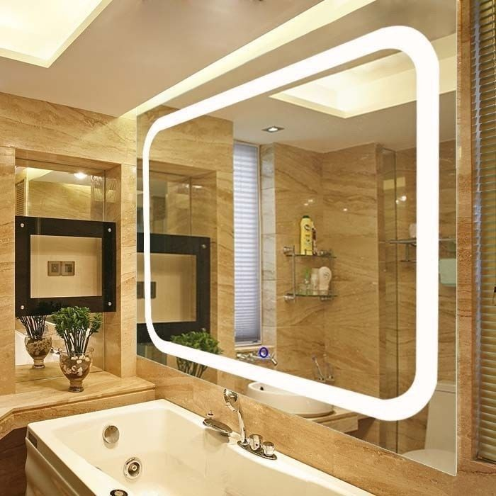 Broadway Large Rectangular Wall Mounted Vanity Mirror With Led Lighting By Fab Glass And Mirror Led Mirror Bathroom Lighted Vanity Mirror Vanity Wall Mirror