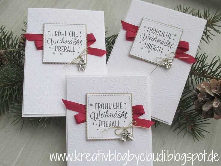 """Diese Woche sind noch jede Menge Weihnachtskarten entstanden.   Unter anderem habe ich das tolle geprägte Designerpapier """"Eisfantasie"""" ang..."""