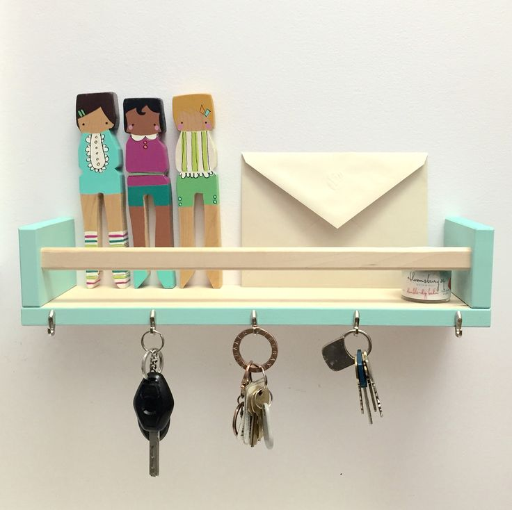DIY key & letter holder using BEKVAM spice rack from IKEA, Robin's Egg paint from Target and 5 nails/hooks (also from target). #keyholder #letterholder #ikeaspicerack #DIY