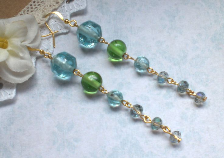 Extra long green earrings, sky blue cascade earrings, Green blue earrings, Long sky blue earrings,Sea blue earrings,Super long blue earrings by MrsBeadyEyes on Etsy