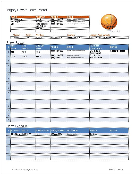 create a printable basketball roster with this excel