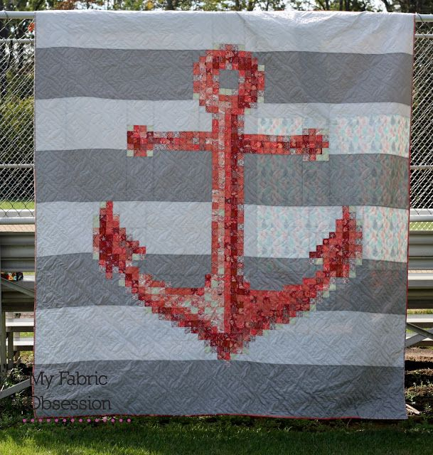 My Fabric Obsession: Tula Pink Anchors Aweigh Quilt - Coral