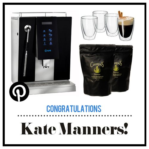 Congratulations Kate Manners, you have won a gourmet coffee lovers package including: an ILVE Coffee Machine, a set of 8 Avanti coffee mugs and a supply of Campos coffee, in the 'Xmas with ILVE' Pinterest Competition!   Please send us a private message on our Facebook page - https://www.facebook.com/ILVEappliances - or email directly to nat@ummcommunications.com.au to arrange the delivery of your prize.