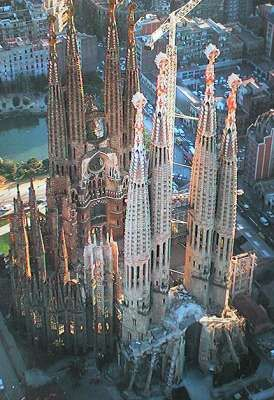Gaudi's chapel in Spain. Been there. They say it is not expected to be finished until my GRANDCHILDREN are dead!