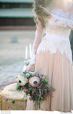 Neu Rosa Vintage Spitze Brautkleid Abendkleid Ballkleid Langarm ...