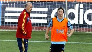 Spanish national team striker Fernando Torres (R) exercises next to head coach Vicente del Bosque (L