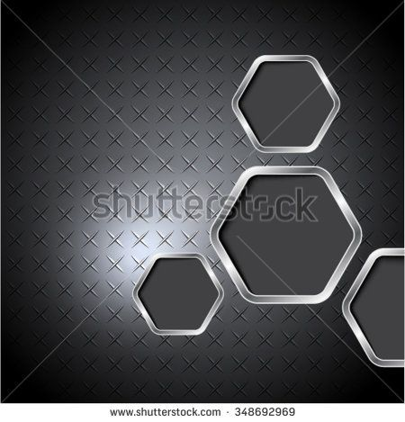 Abstract  diamond plate with hexagons.Vector background.