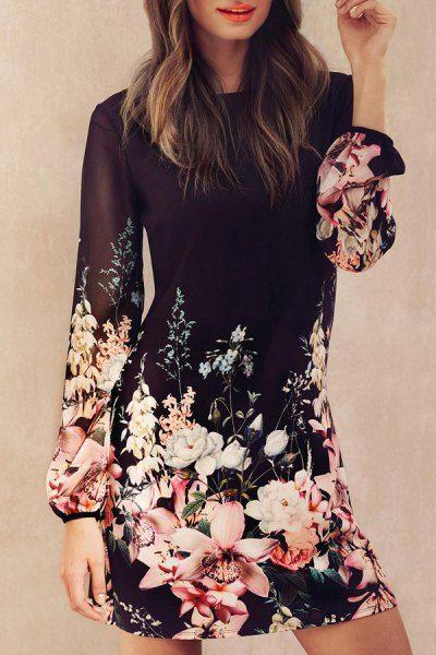 Printed Chiffon Long Sleeves Round Collar Dress BLACK: Chiffon Dresses | ZAFUL