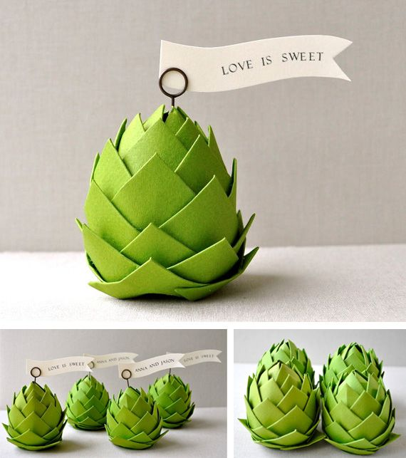 Artichoke place cards in Decoration and wedding indoor and outdoor details